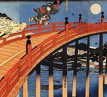 Japanese Print:  Warriors on a Bridge by TexasBarFight