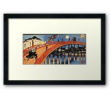Japanese Print:  Warriors on a Bridge Framed Print