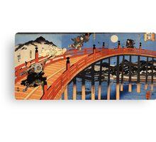 Japanese Print:  Warriors on a Bridge Canvas Print