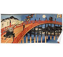 Japanese Print:  Warriors on a Bridge Poster