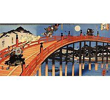 Japanese Print:  Warriors on a Bridge Photographic Print