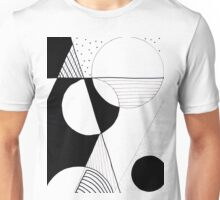 Black, White, Circle, Line Unisex T-Shirt