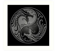 Yin Yang Dragons Gray and Black Art Print