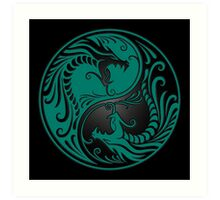 Yin Yang Dragons Teal Blue and Black Art Print