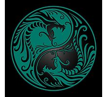 Yin Yang Dragons Teal Blue and Black Photographic Print