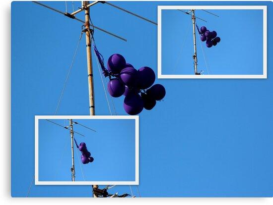 Purple Balloons on A TV Antenna by alycanon
