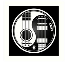 White and Black Acoustic Electric Guitars Yin Yang Art Print