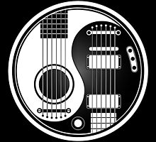 White and Black Acoustic Electric Guitars Yin Yang by Jeff Bartels
