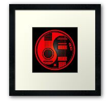 Red and Black Acoustic Electric Guitars Yin Yang Framed Print