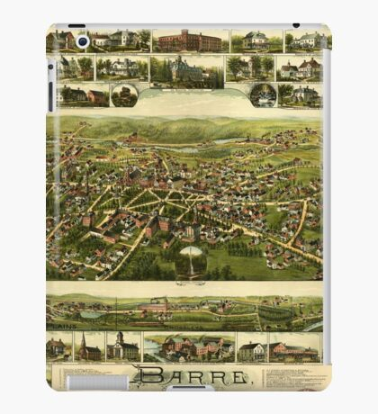 Panoramic Maps Barre Massachusetts iPad Case/Skin