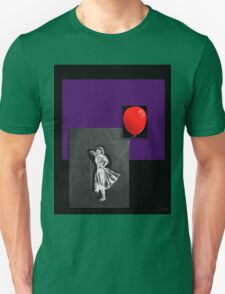 Red Balloon on black Unisex T-Shirt