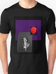 Red Balloon on black Unisex T-Shirt