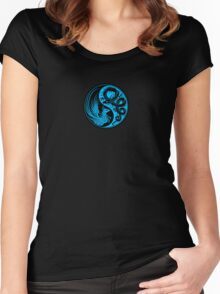 Blue and Black Dragon Phoenix Yin Yang Women's Fitted Scoop T-Shirt