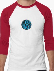 Blue and Black Dragon Phoenix Yin Yang Men's Baseball ¾ T-Shirt