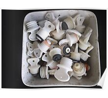 Old ceramic basin, full of hot water bottle taps -(020412)- digital photo Poster