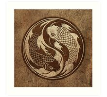 Yin Yang Koi Fish with Rough Texture Effect Art Print