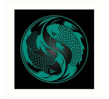 Teal Blue and Black Yin Yang Koi Fish Art Print