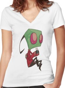 Invader ZIM (sweater+coffee) Women's Fitted V-Neck T-Shirt