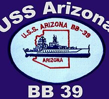 USS Arizona (BB-39) Crest for Dark Backgrounds by Spacestuffplus