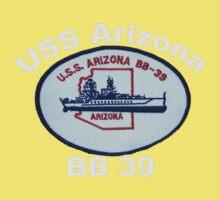 USS Arizona (BB-39) Crest for Dark Backgrounds One Piece - Short Sleeve