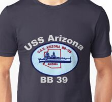 USS Arizona (BB-39) Crest for Dark Backgrounds Unisex T-Shirt