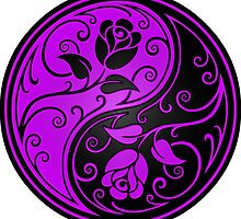Purple and Black Yin Yang Roses by Jeff Bartels