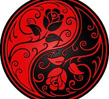 Red and Black Yin Yang Roses by Jeff Bartels