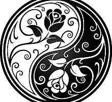White and Black Yin Yang Roses by Jeff Bartels
