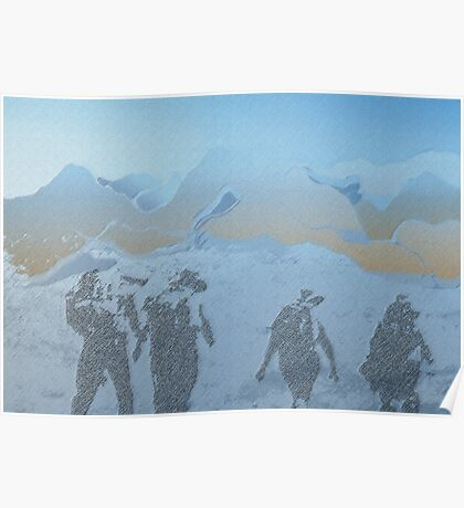 Walking in the mountains Poster
