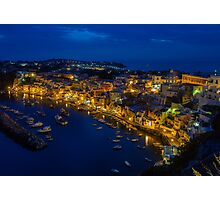 Corricella on the island Procida in Italy at night. Photographic Print