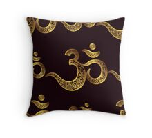 Seamless pattern Om or Aum Indian sacred sound, original mantra, a word of power. Throw Pillow