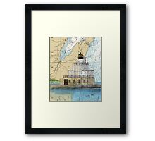 Manitowoc Lighthouse WI Map Chart Cathy Peek Framed Print