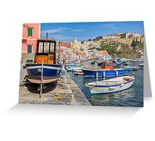 Boats in Marina Corricella in Italy. Greeting Card