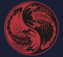 Red and Black Scorpions Yin Yang  Kids Tee