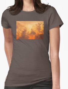 Colorful Orange Yellow Storm Clouds At Sunset Womens Fitted T-Shirt