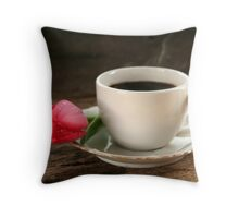 Tulip and Coffee Throw Pillow