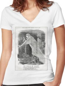 Jack the Ripper Punch Cartoon Nemesis of Neglect 1888 Women's Fitted V-Neck T-Shirt