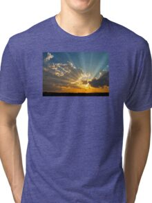 Dramatic Sunbeams And Storm Clouds Over Maine Tri-blend T-Shirt