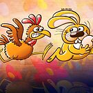 Easter Bunny Stealing an Egg from a Furious Hen by Zoo-co