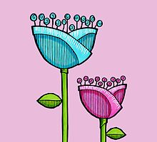 Fun Doodle Flowers pink blue iPhone 4 Case by Mariana Musa