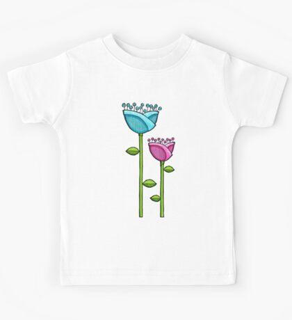 Fun Doodle Flowers blue pink Kids Clothes