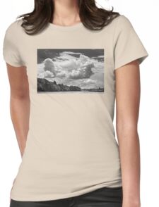 Black And White Storm Clouds Cobbossee Lake Maine Womens Fitted T-Shirt