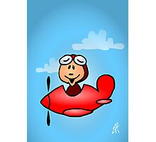 Red airplane with laughing pilot Photographic Print