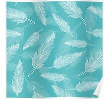 Vintage seamless feathers pattern  Poster
