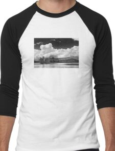 Black And white Vienna Maine Flying Pond With Storm Clouds Men's Baseball ¾ T-Shirt