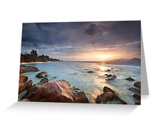 La Digue Sunset Greeting Card