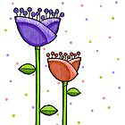 Fun Doodle Flowers purple orange Print by Mariana Musa