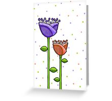 Fun Doodle Flowers purple orange Print Greeting Card