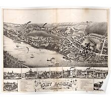 Panoramic Maps View of East Haddam Connecticut and Goodspeeds Landing 1880 Poster