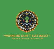 Winners Don't Eat Meat - Scott Pilgrim inspired Vegan Police Logo (transparent version) Kids Clothes